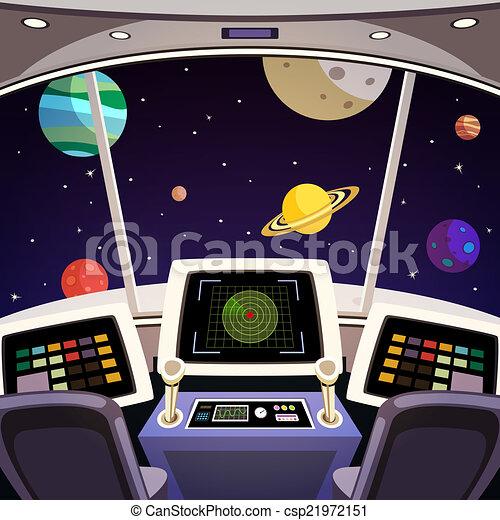 Vecteur vaisseau spatial dessin anim int rieur banque d 39 illustrati - Interieur vaisseau spatial ...