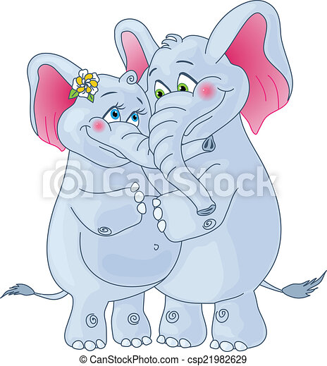 Vector Illustration of Elephants on a white background ...