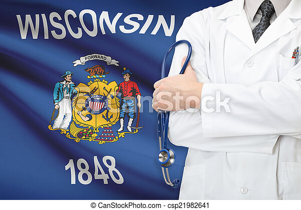 Concept of US national healthcare system - state of Wisconsin - csp21982641