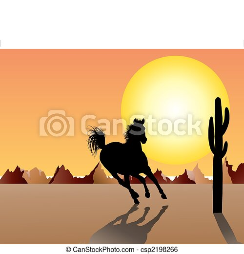horse on sunset background - csp2198266