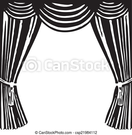 Stage curtain drawing - Vector Clip Art Of Theater Curtain Open Theater Curtain