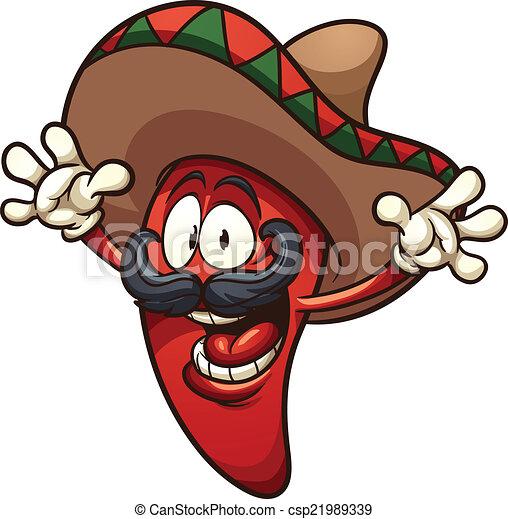 Vecteurs de piment mexicain poivre heureux mexicain - Dessin piment ...