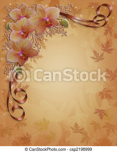Fall Autumn Orchids Floral Border - csp2198999