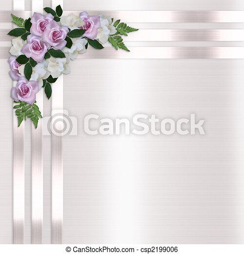 Roses and Satin Ribbons wedding invitation - csp2199006