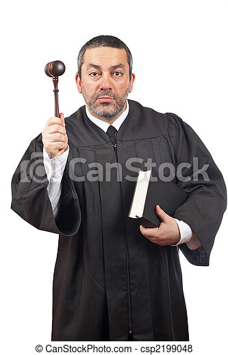 Judge holding the gavel and book - csp2199048