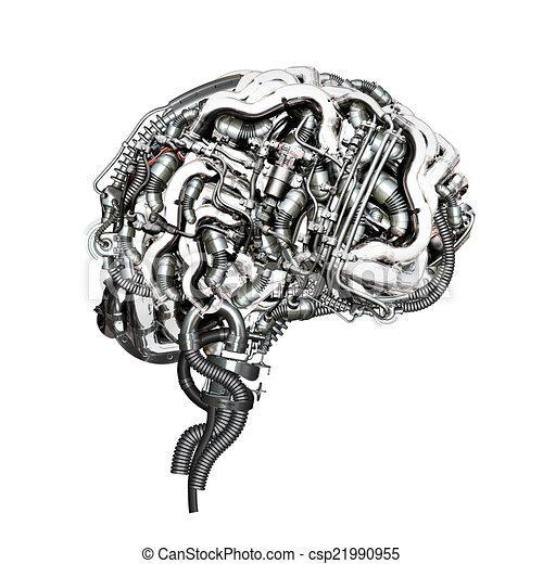 Stock Illustrations Of Brain An Mechanical Super Brain