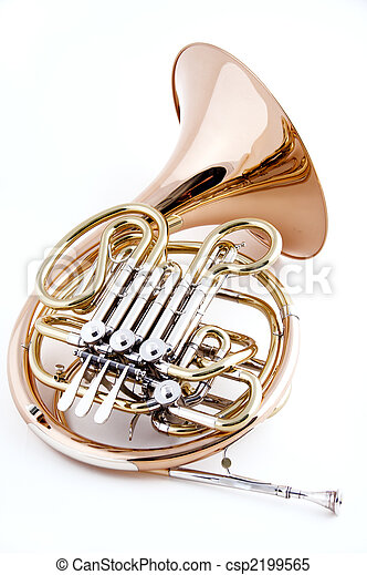French Horn Isolated on White - csp2199565