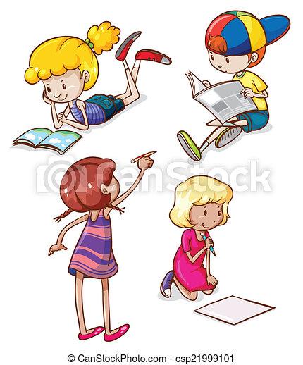 Vector Clip Art de dibujos, simple, niños, lectura ...