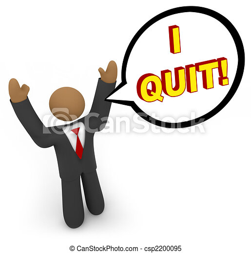 I Quit - Businessman Speech Bubble - csp2200095
