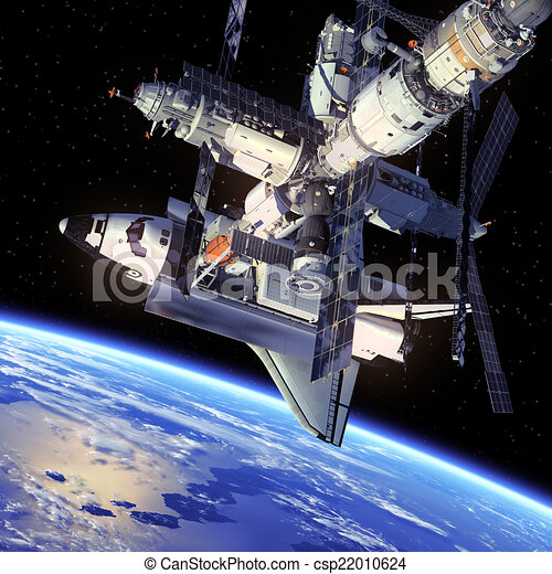 Space Shuttle And Space Station - csp22010624