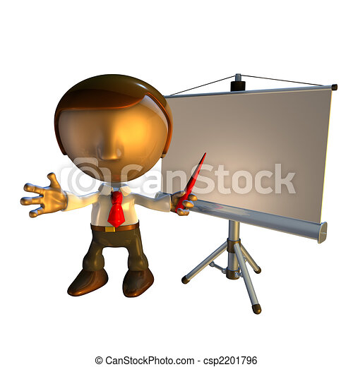 3d business man character with presentation equipment - csp2201796