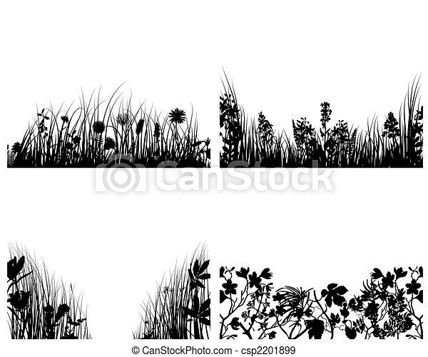 set of grass silhouettes - csp2201899