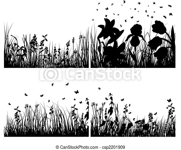 set of grass silhouettes - csp2201909