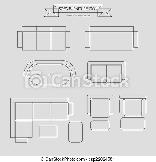 Vector Of Sofa Furniture Outline Icon Top View For