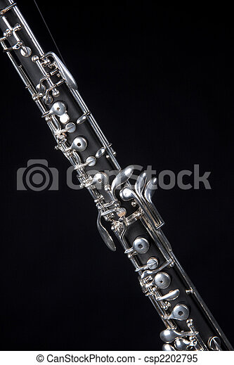 Stock Images Of Oboe Clarinet Isolated On Black An Oboe Up Close Isolated Csp