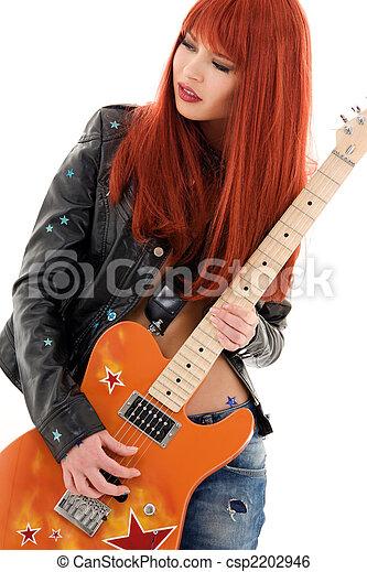 guitar babe - csp2202946