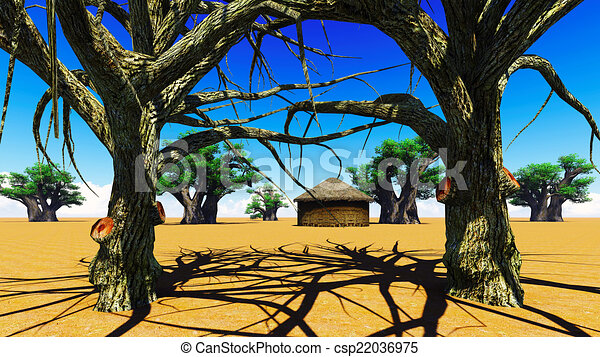 Stock Illustrations of African village With baobabs and hut ...