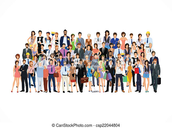 Vector Clipart of Large group of people - Large group crowd of ...