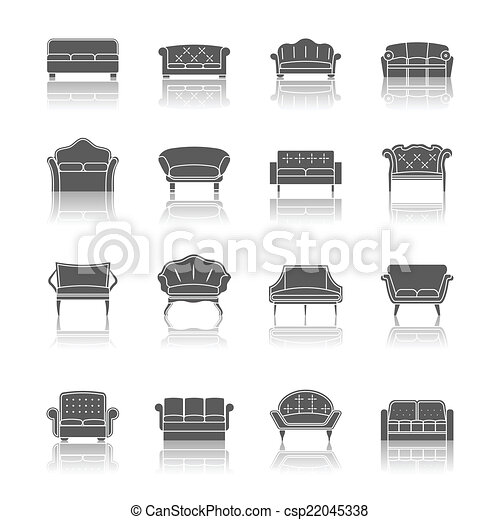 Modern Furniture Drawings vectors of sofa icon black - sofa couches modern furniture