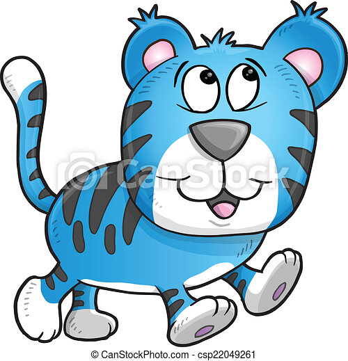 Cheerful Tiger Vector Illustration  - csp22049261