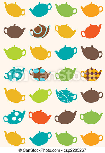 seamless pattern of tea pots - csp2205267