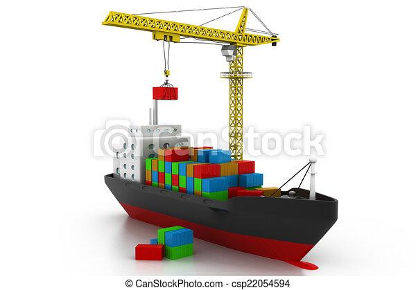 Stock de ilustraciones de carga barco contenedores contenedores carga barco csp22054594 - Contenedores de barco ...