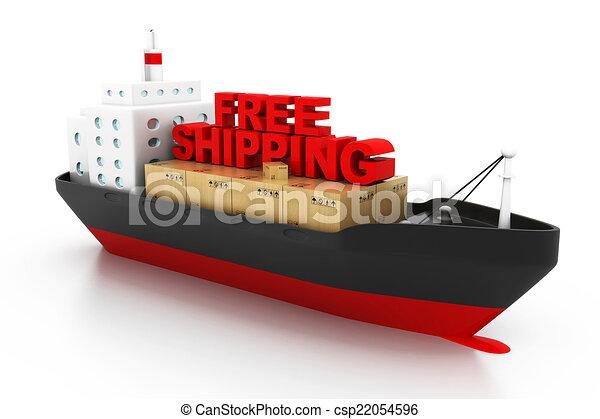 Stock de ilustraciones de carga concepto libre env o barco contenedores libre - Contenedores de barco ...