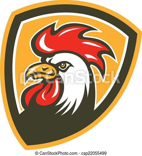 Chicken Rooster Head Mascot Shield Retro - csp22055499