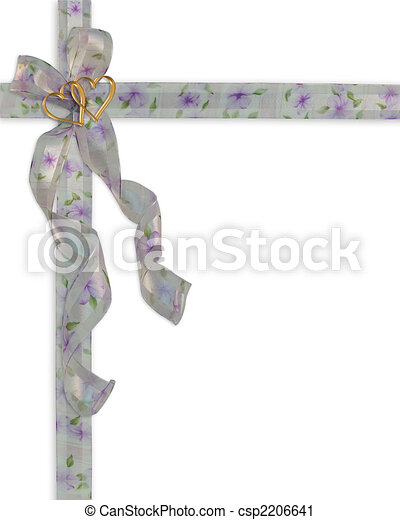 Wedding invitation floral ribbons - csp2206641