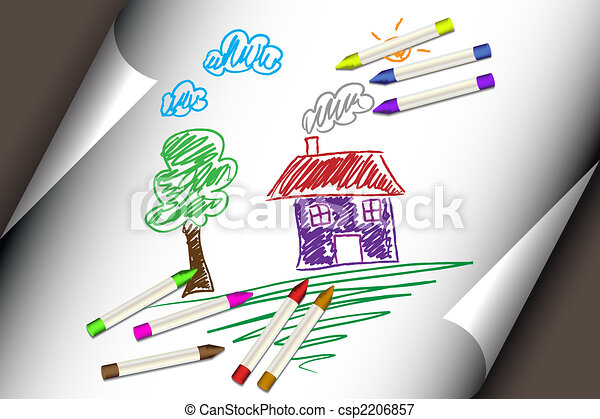 Child kids drawing of a house or home - csp2206857