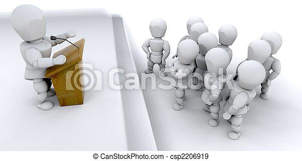 Man speaking to a crowd - csp2206919