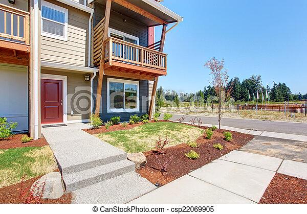 stock fotografie von bunte modern wohnhaeuser geb ude landschaftsbild csp22069905. Black Bedroom Furniture Sets. Home Design Ideas