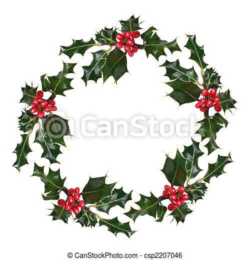 image de houx couronne houx feuille sprigs rouges baies csp2207046 recherchez. Black Bedroom Furniture Sets. Home Design Ideas