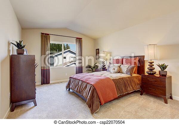 Photographies de beau chambre coucher clair orange literie lumi re csp22070504 for Chambre a coucher conforama moka
