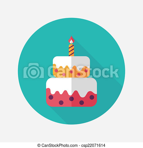 Vector Clip Art of birthday cake flat icon with long shadow,eps10 ...