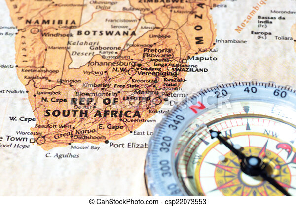 Travel destination South Africa, ancient map with vintage compass