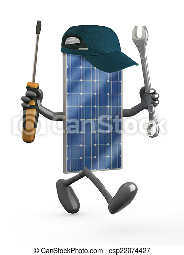 solar panel with arms, legs and tools on hands - csp22074427