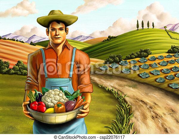 Clipart de légume, agriculture - paysan, tenue, panier ...