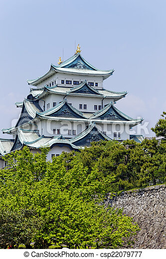 Nagoya castle atop with golden tiger fish head pair called \