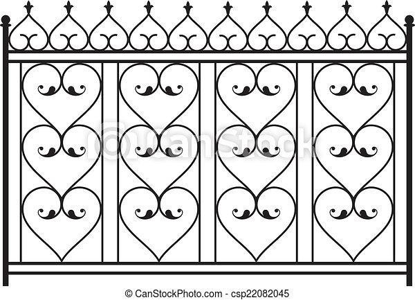 Eps vector of wrought iron gate door fence window for Window design clipart