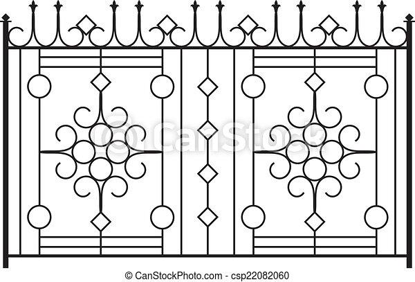 Clip Art Vector Of Wrought Iron Gate Door Fence Window
