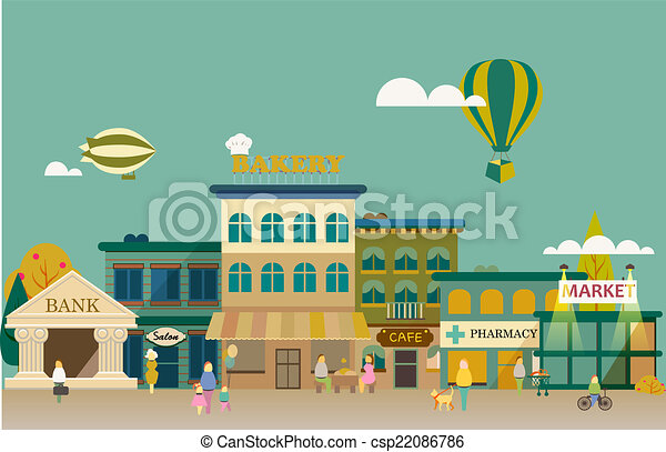 Vector of Set buildings of small business flat design - Set of ...