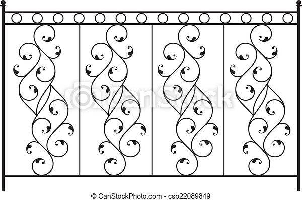 Eps vector of wrought iron gate door fence window for Window scroll function