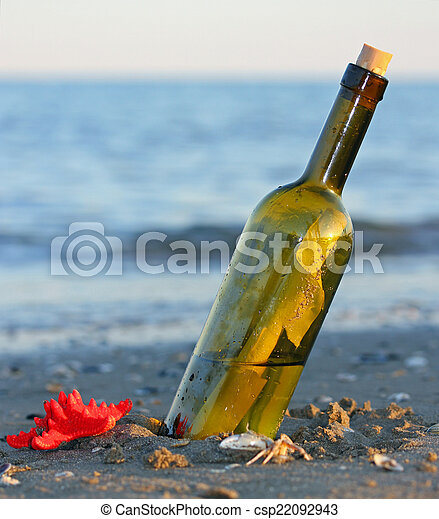 bottle with a secret message and a starfish