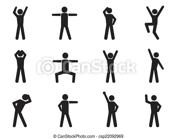 Clip Art Vector of stick figure posture icons - isolated stick ...