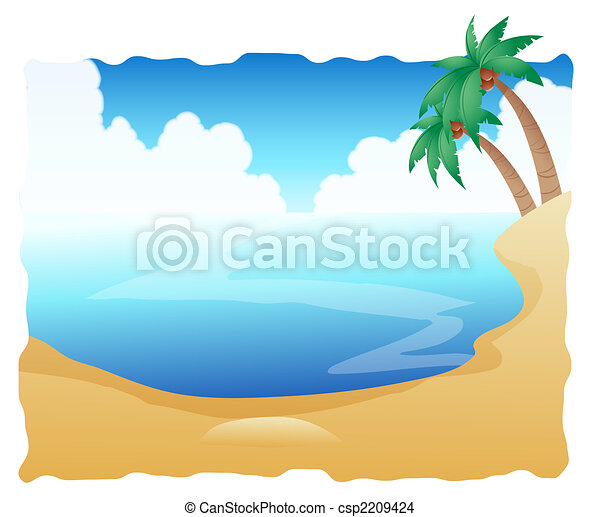Beautiful Beach with Palm Trees - csp2209424