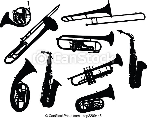silhouettes of wind instruments - csp2209445