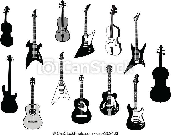 Guitars silhouettes - csp2209483