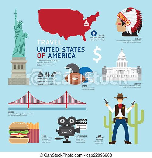Clip Art Vector of USA Flat Icons Design Travel Concept.Vector ...