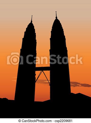 Petronas Twin Towers in Kuala Lumpur - csp2209681
